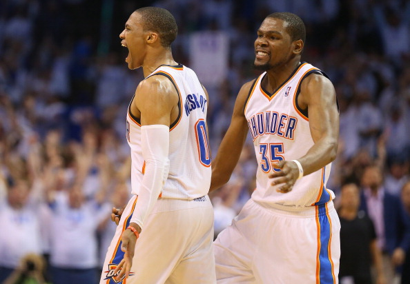 Russell Westbrook (left) and Kevin Durant of the Oklahoma City Thunder
