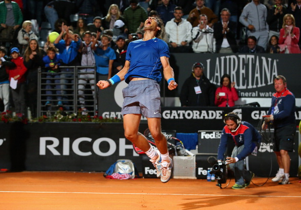 Rafael Nadal of Spain celebrates defeating Andy Murray of Great Britain during day six of the Internazionali BNL d'Italia tennis 2014 on May 16, 2014 in Rome, Italy.