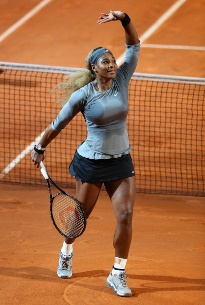Serena Williams of USA celebrates defeating Shuai Zhang of China during day six of the Internazionali BNL d'Italia tennis 2014 on May 16, 2014 in Rome, Italy.