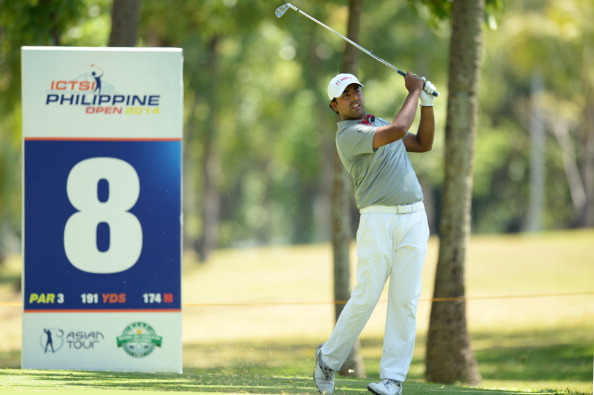 Anirban Lahiri of India plays a shot during round three of the ICTSI Philippine Open at Wack Wack Golf and Country Club on May 17, 2014 in Manila, Philippines.