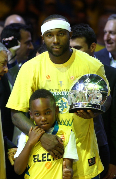 Rice Tyrese of Maccabi Electra Tel Aviv celebrates after winning over Real Madrid at the Turkish Airlines Euroleague Final Four 2014 Champions at Mediolanum Forum on May 18, 2014 in Milan, Italy.