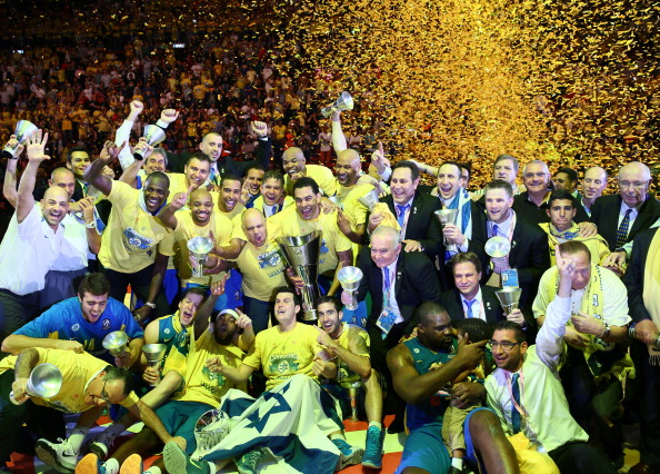 Players of Maccabi Electra Tel Aviv pose with the tophy after winning over Real Madrid at the Turkish Airlines Euroleague Final Four 2014 Champions at Mediolanum Forum on May 18, 2014 in Milan, Italy.
