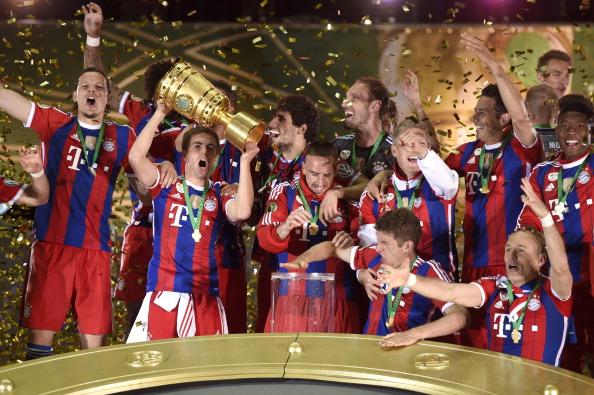 Bayern Munich celebrate after they won the DFB Pokal