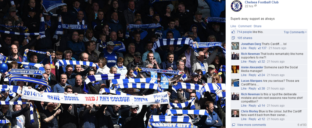 Cardiff City fans mistaken as Chelsea fans by Chelsea's Facebook page