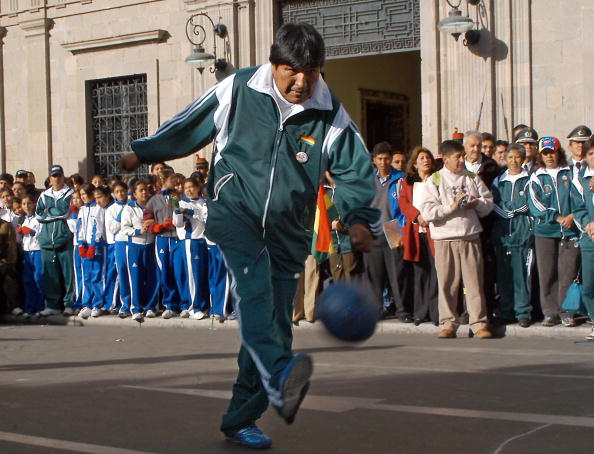 Bolivian president Evo Morales shoots du
