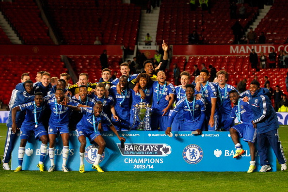 Chelsea players celebrate with the trophy after the Barclays Under-21 Premier League Final match between Manchester United and Chelsea at Old Trafford