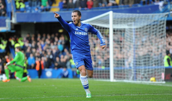 Eden Hazard of Chelsea celebrates after scoring his first goal during the Barclays Premier League match between Chelsea and Newcastle United