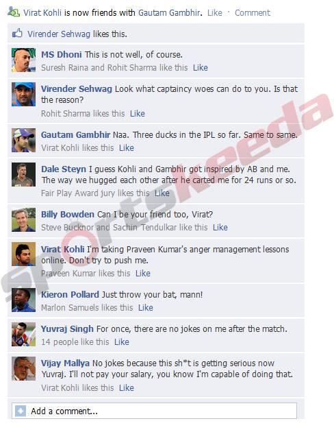 Gambhir Kohli FB wall