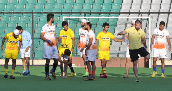 Indian Hockey team practice during the training cap at National Stadium on March 13, 2014 in New Delhi, India