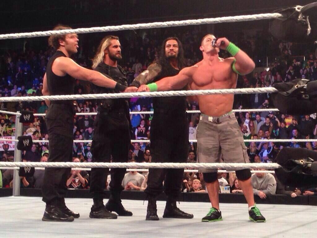 John Cena joins The Shield to defeat The Wyatt Family