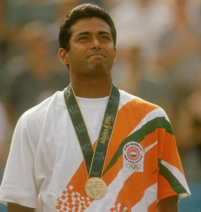 Leander Paes with the bronze medal at the Atlanta Olympics in 1996