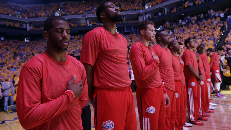 The Los Angeles Clippers players protesting against the remarks of their owner Donald Sterling