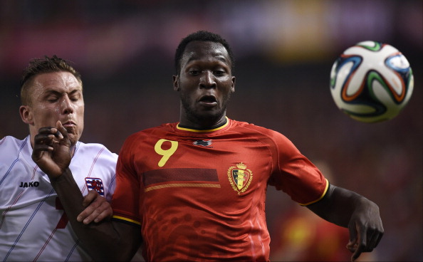 Luxembourg's defender Tom Schnell (L) vies with Belgium's forward Romelu Lukaku during the friendly football match between Belgium and Luxembourg at the Fenix stadium in Genk.