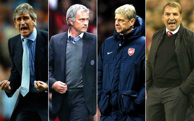 Four's a prom night : L to R : Pellegrini, Mourinho, Wenger and Rodgers