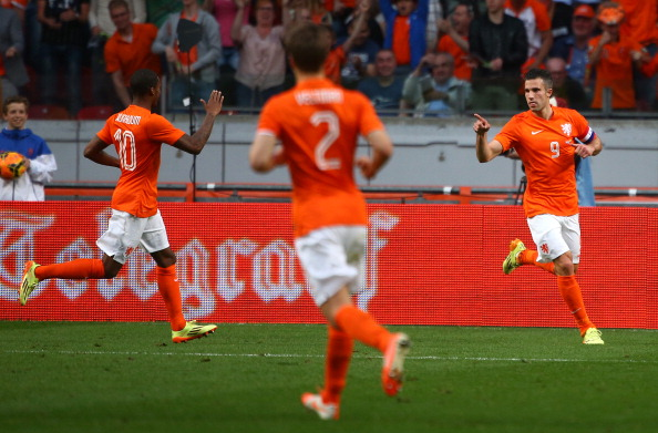Robin van Persie after scoring for Netherlands