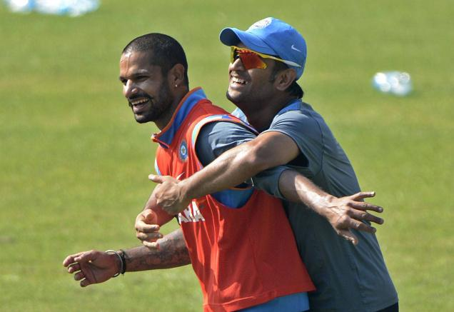 Shikhar Dhawan and Dhoni