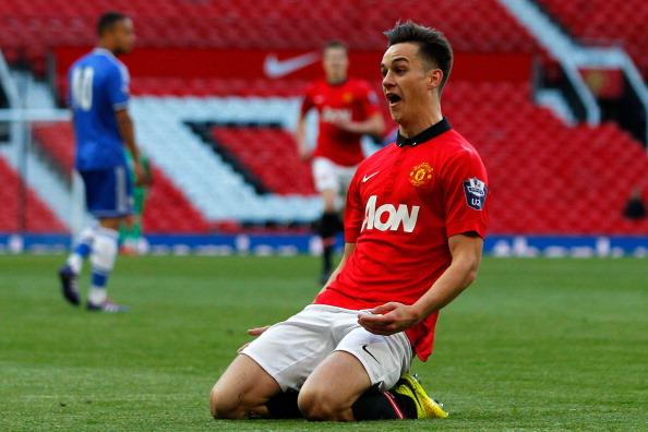 Manchester United U21's Tom Lawrence celebrates his goal against Chelsea U21