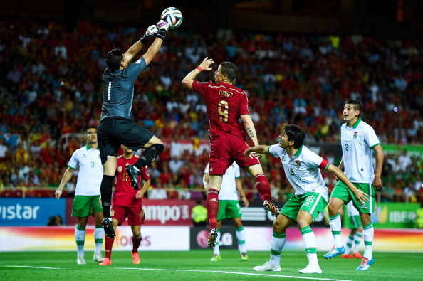 Fernando Torres of Spain competes for a high ball with Romel Quinones of Bolivia an international friendly match between Spain and Bolivia at Estadio Ramon Sanchez Pizjuan on May 30, 2014 in Seville, Spain.