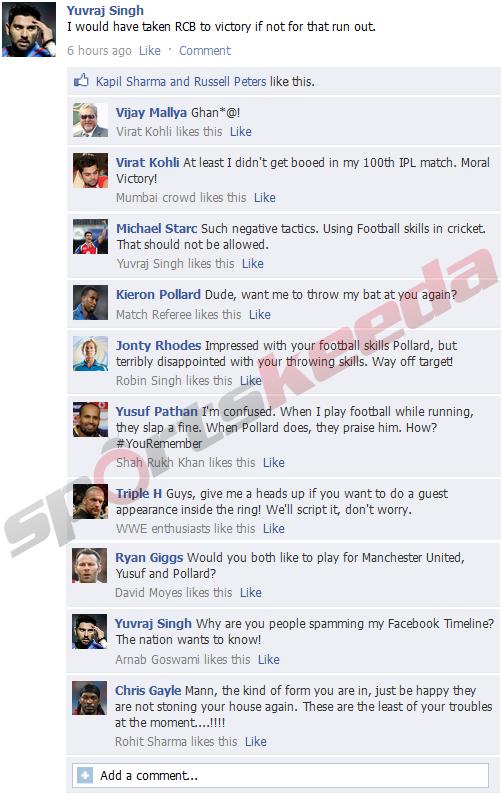 Yuvraj Singh FB Wall