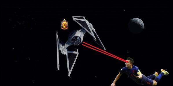 Van Persie destroys Spain satellite with laser beam