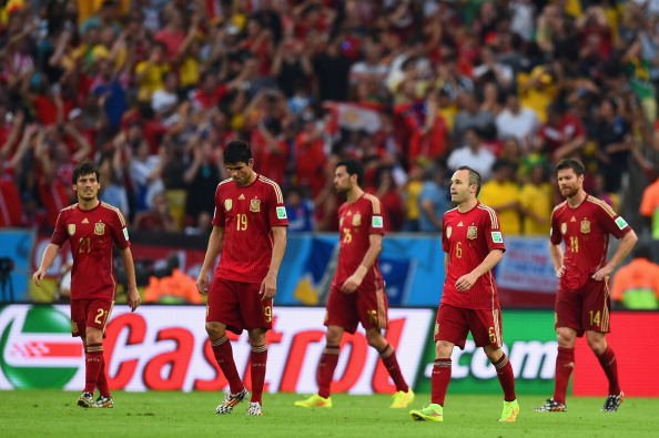 167f56fe30f David Silva, Diego Costa, Sergio Busquets, Andres Iniesta and Xabi Alonso  of Spain look on during the 2014 FIFA World Cup Brazil Group B match  between Spain ...