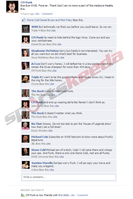 Fake FB Wall: CM Punk reacts on Facebook after being removed