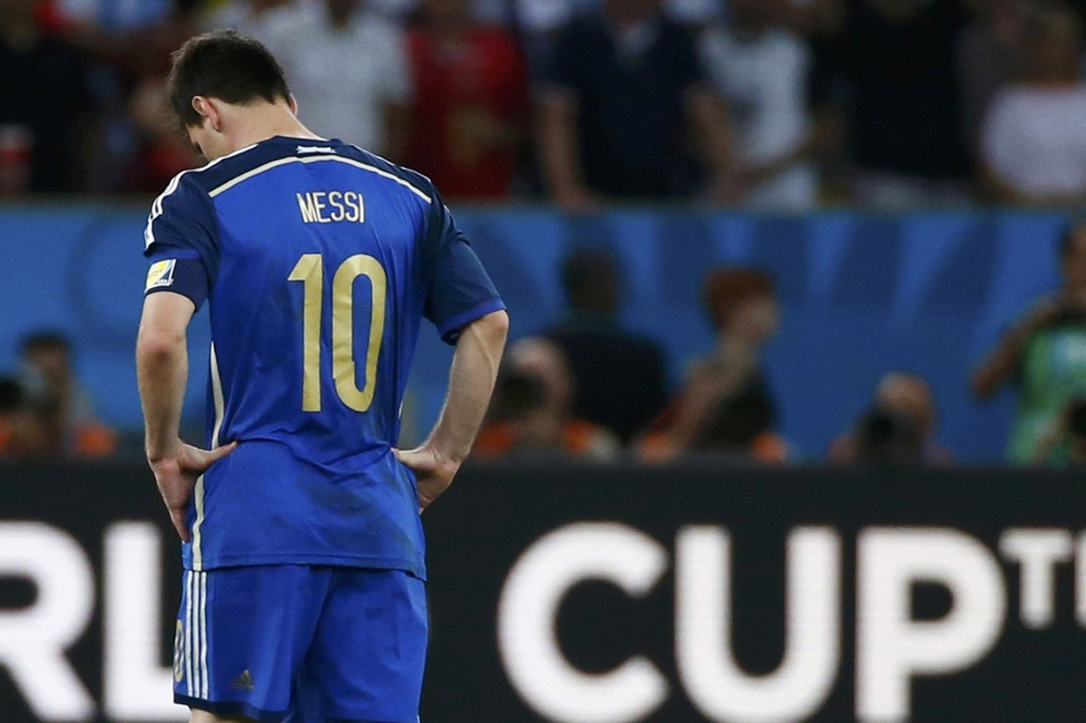 A dejected Lionel Messi after Argentina lost the World Cup final to Germany 10149449c
