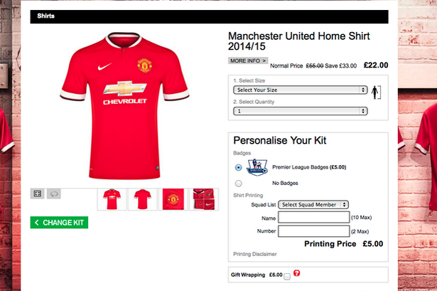 a00be73d0a8 The official Manchester United store where the kit was available on discount