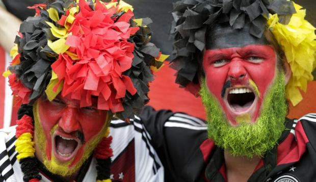 German fans celebrate a goal against Brazil during the first semi-final of the 2014 FIFA World Cup
