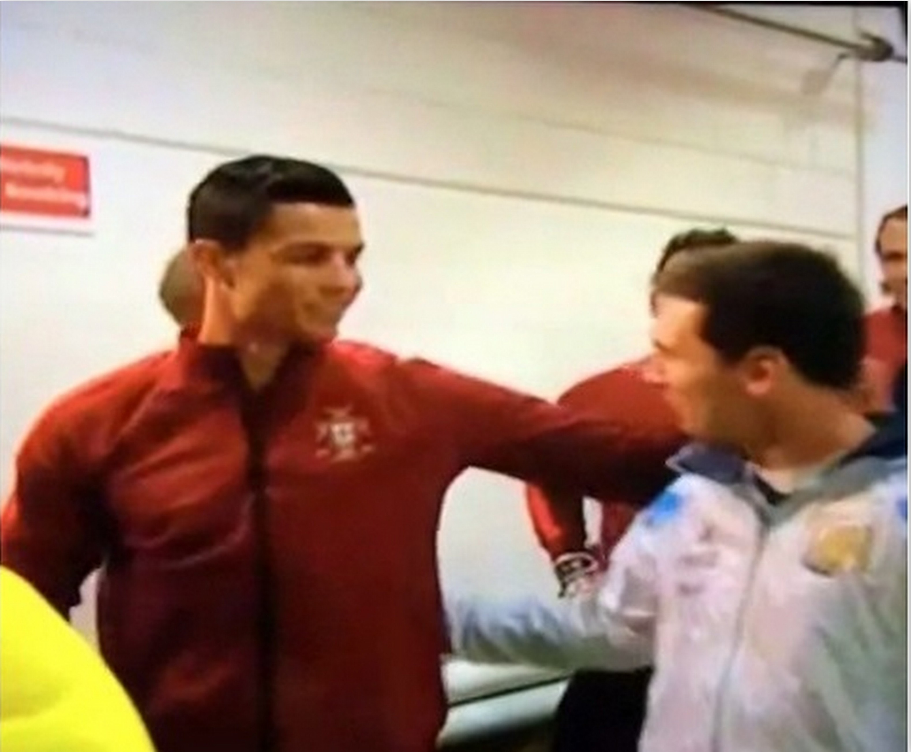 Top 5 priceless pictures of ronaldo and messi during portugal vs 1 ronaldo and messi greet each other in the tunnel m4hsunfo Choice Image