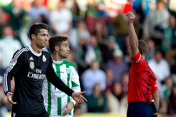 Video: Cristiano Ronaldo red carded for hitting a player
