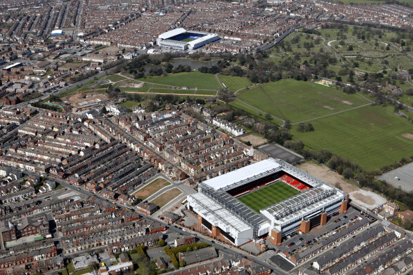 Anfield and Goodison Park seperated by Stanley Park