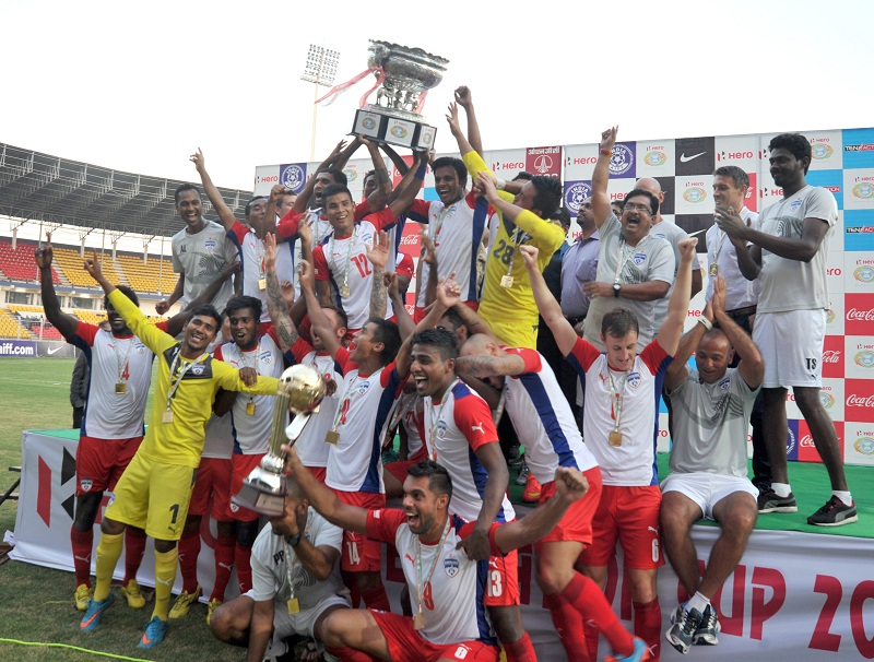 Bengaluru FC celebrate with the Hero Federation Cup trophy in Goa.