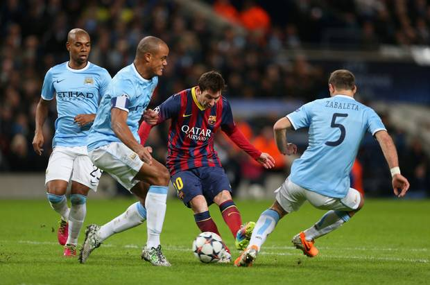 Lionel Messi in action against Manchester City