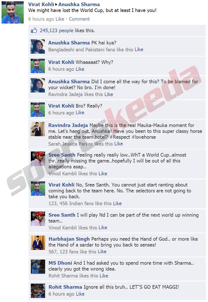Virat kohli facebook wall