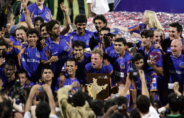 Rajasthan Royals celebrate their maiden IPL title in 2008.