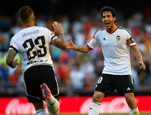 Nicolas Otamendi celebrates after scoring with Dani Parejo