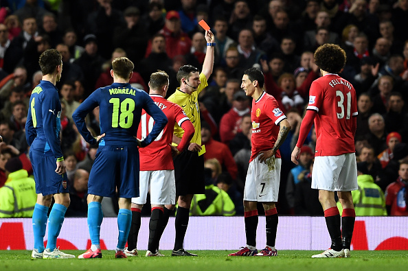 Angel Di Maria red card Manchester United FA Cup Arsenal