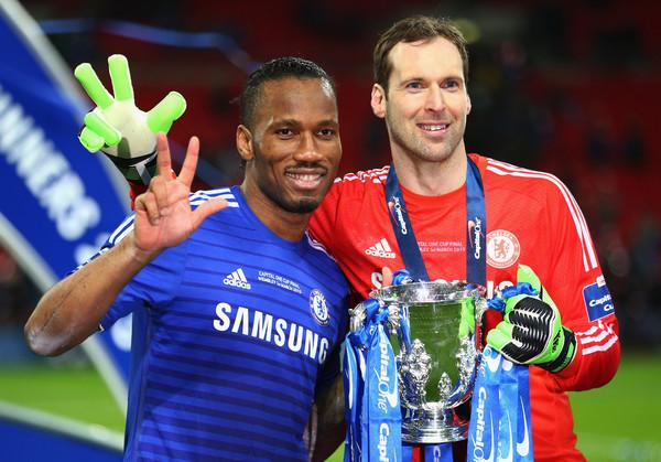 Petr Cech and Didier Drogba Chelsea