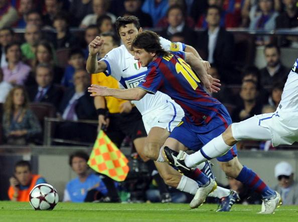 Javier Zanetti and Lionel Messi Champions League