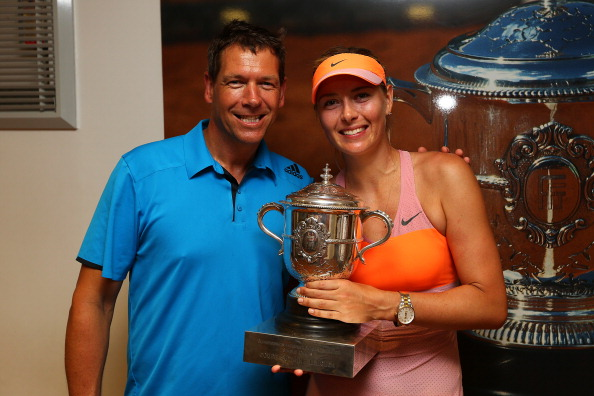 Maria Sharapova with coach Sven Groeneveld after winning the 2014 French Open