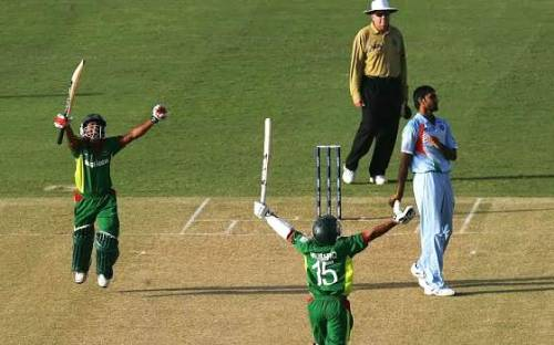 Bangladesh batsmen react on beating India in the 2007 World Cup