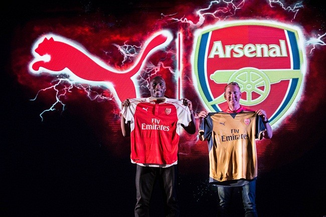Arsenal legends Ray Parlour and Sol  Campbell unveil the new PUMA Arsenal kits in India for the 2015-2016 football  season