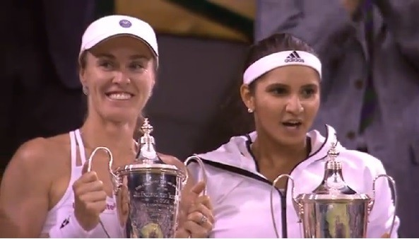 Sania Mirza and Martina Hingis win the Doubles title at