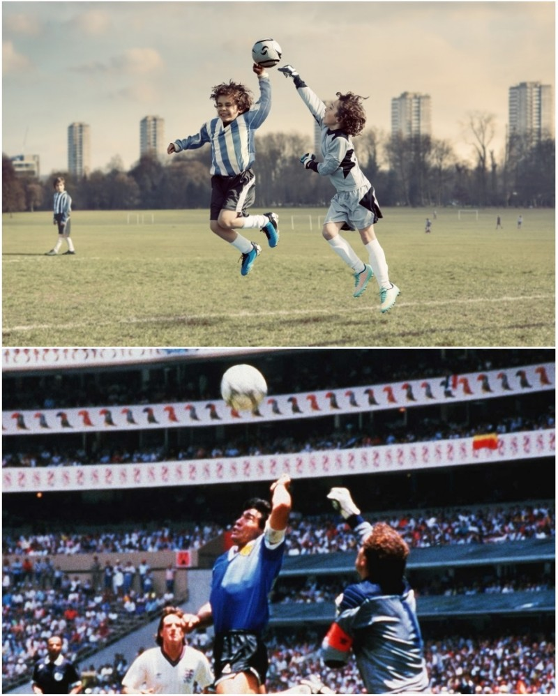 Diego Maradona Hand of God recreated