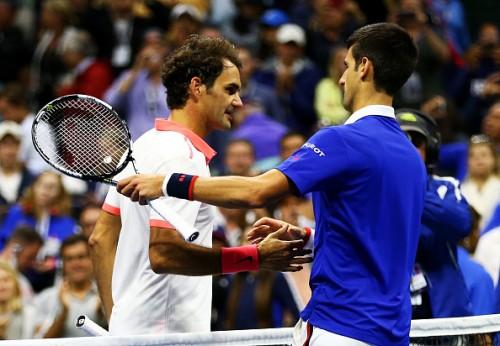 Roger Federer & Novak Djokovic after the US Open 2015 final