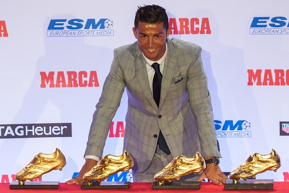 Image result for Lionel Messi with Cristiano Ronaldo win Golden Shoe