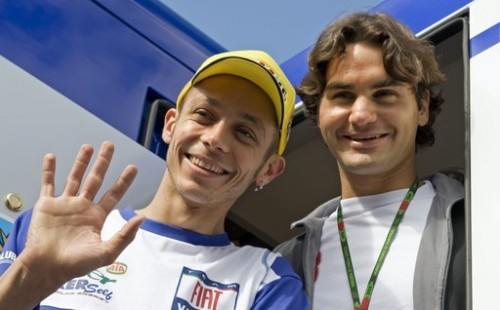 Roger Federer with Valentino Rossi