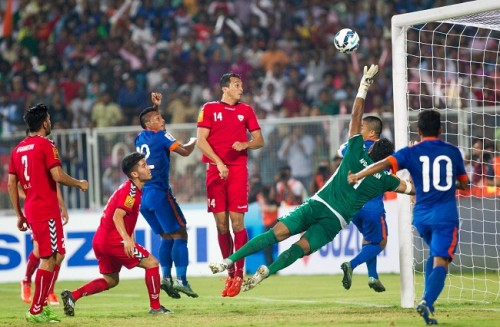 India Afghanistan Jeje hits the post SAFF 2015