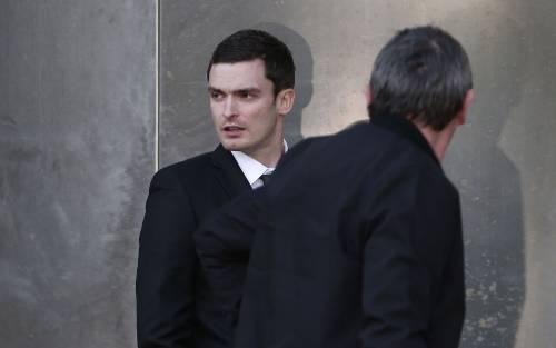 Sunderland soccer player Adam Johnson leaves Bradford Crown Court in Bradford, Britain February 10, 2016. REUTERS/Andrew Yates